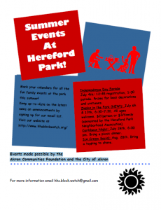 Hereford Park Summer Events 2011 Flyer
